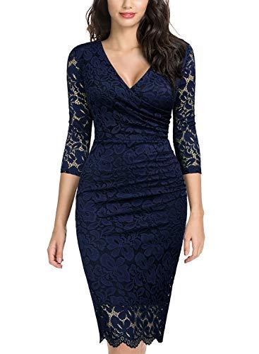 Miusol Women's Retro Deep-V Neck Ruffles Floral Lace Evening Pencil Dress (X-Large, C-Navy Blue) ()