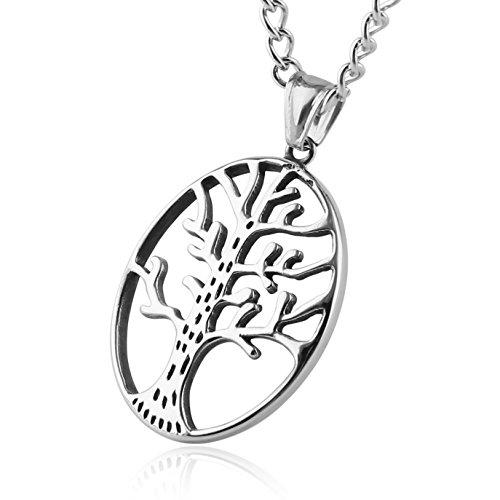 HZMAN Fashion Stainless Steel Polished Tree Of Life Pendant - Pendant Boy Kiss