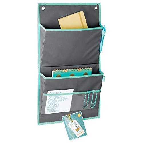 - mDesign Soft Fabric Over The Door Hanging Storage Organizer - 4 Pockets in 2 Sizes and Magnetic Strip - Vertical Office Center for Home Office, Work Cubicle - Hooks Included - Gray/Teal Blue