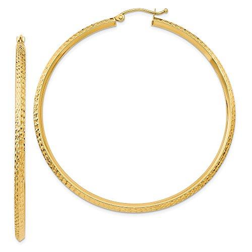 14k Yellow Gold Knife Edge Hoop Earrings Ear Hoops Set Fine Jewelry Gifts For Women For Her