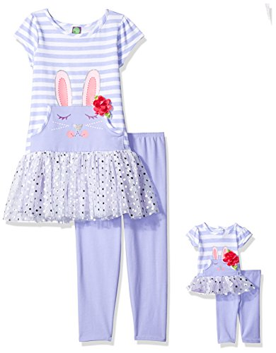 Dollie & Me Big Girls' Bunny Tutu Dress with Legging and Matching Doll Outfit, Lilac/Multi, 7 (Outfits With Dresses)