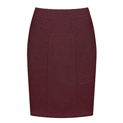 en Jupe Pure Couleur Taille Rouge Hiver Automne GWELL Crayon Longue Courte Grande Laine Femme xRqTnp