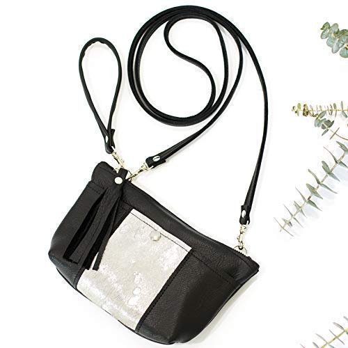 (Black & Silver Leather Crossbody Convertible: Wristlet, Clutch, Purse - Cowhide Bag)
