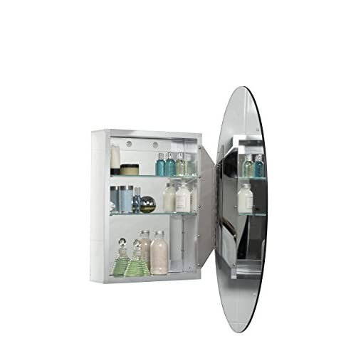 Croydex Orwell 31-Inch x 21-Inch Oval Recessed or Surface Mount Medicine Cabinet with Hang 'N' Lock Fitting System, Aluminum 80%OFF