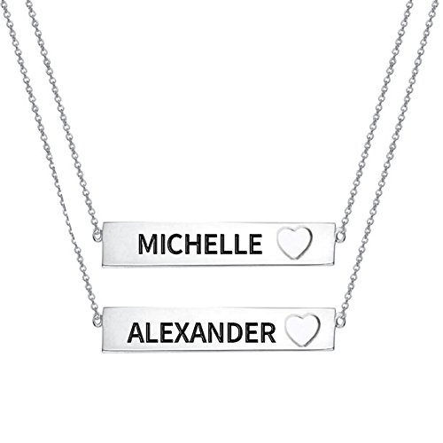 - Ouslier 925 Sterling Silver Personalized Cut Out Heart Layered Bar Necklace Custom Made with 2 Names (Silver)