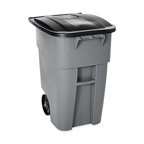 Rubbermaid Commercial Unreasoning Recycler Rollout Trash Can with Hinged Lid, 50 Gallon, Gray