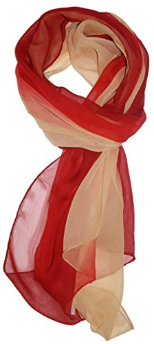 Just Libby-Women's Silk Blend Ombre Oblong Scarf Red & Tan