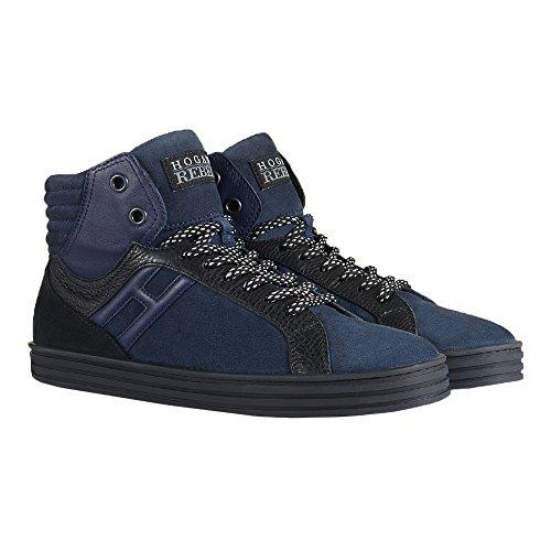Hogan Rebel Hi Top Sneakers Uomo HXM1410R283DWH0XD5 Camoscio Blu/Nero