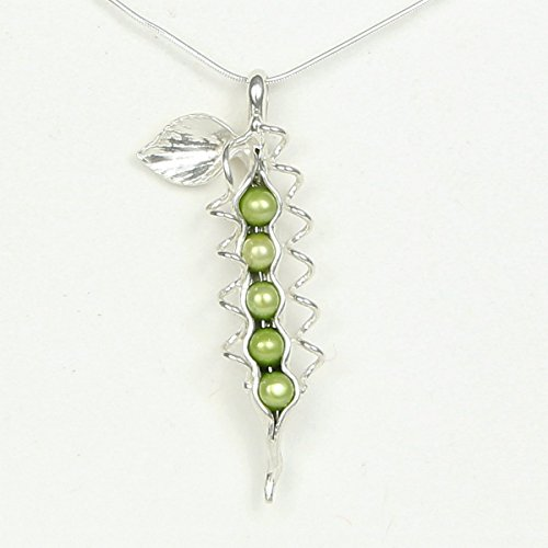Pea Sweet Pearl Pendant (5 or 6 Pearl How Many Peas in Your Pod Sterling Silver Necklace Each Unique Handmade - Gift Boxed - Green or White Peas)
