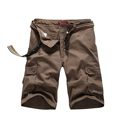 - CANASOUR Men Khaki Camouflage Multi Pockets Jogger Capri Cargo Shorts (US Size 36, Coffee)
