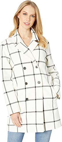 cupcakes and cashmere Women's Aletta Plaid Double Breasted Coat Ivory Medium - Cashmere Double Breasted