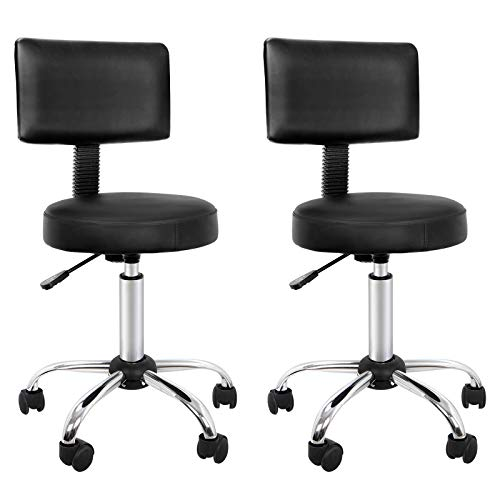 (ZENY Beauty Salon Stool Chair with Back Height Adjustable Rolling Hydraulic Swivel Drafting Stool Home Office Desk Chair with Backrest (Pack of 2) )