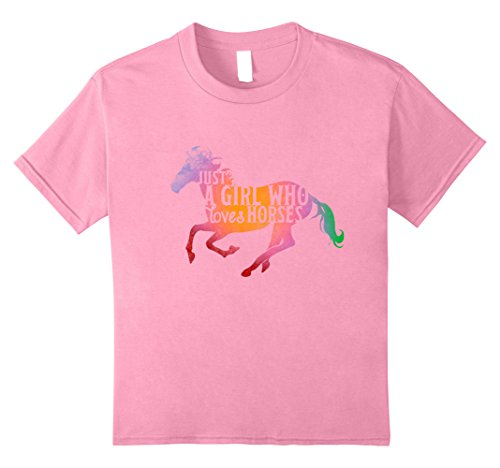unisex-child Just A Girl Who Loves Horses T-shirt Riding Tee Equestrian 12 Pink