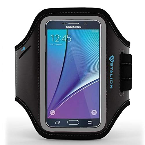 Galaxy Note 5 Armband: Stalion Sports Running & Exercise Gym Sportband for Samsung Galaxy Note 5 & Galaxy S6 Edge+ (Plus)(Jet Black) Water Resistant + ID/Credit Card/Money Holder