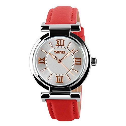 SKMEI Women's Girls Watches Fashion PU Leather Strap Waterproof Quartz Watch For Ladies (Red)