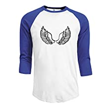 X112 Men's Fashion 3/4 Sleeve T-Shirt Tee Angel Wings Black
