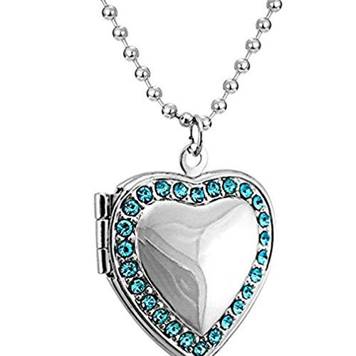 Myhouse Love Heart Pendant Necklace DIY Photo Locket Charm Women Clavicle Chain (Color 3) (Three Photo Locket)
