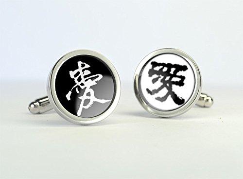[Chinese Love Symbol Cufflinks,Chinese Characteristics,Chinese Characters Cufflinks,Handmade Cufflinks,Charm Jewelry,Shirt Cufflinks,Glass Round Silver Cufflinks,] (Character Photo Charms)