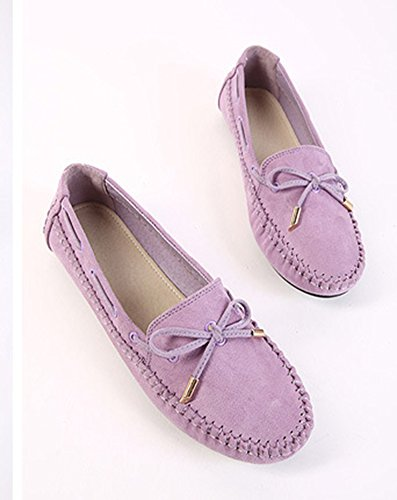 Easemax Womens Fashion Round Toe Low Casual Slip On Bowknot Flats Shoes Purple RmP8E