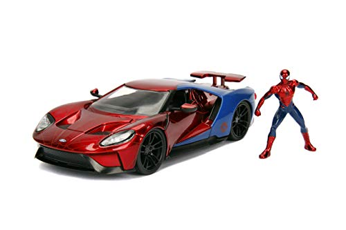 "Jada Toys Marvel Spider-Man & 2017 Ford Gt DIE-CAST Car, 1: 24 Scale Vehicle & 2.75"" Collectible Metal Figurine"