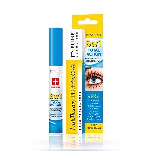 Eveline Cosmetics, siero per ciglia concentrato adazione totale 8in 1, trattamento per la crescita delle ciglia My Beauty Supplements