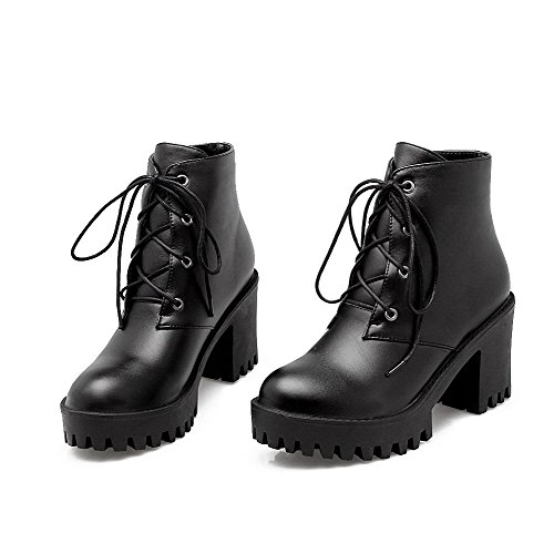 AgooLar Women's Lace-up High-Heels PU Solid Round-Toe Boots Black HBMjYPUw
