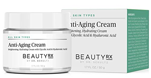 BeautyRx by Dr. Schultz Anti-Aging Face Cream for Fine Lines, Wrinkles & Dark Spots with 5% Glycolic & Hyaluronic Acid. Best Brightening Facial Night Moisturizer for Women & Men 1.7 oz