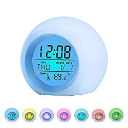 BZ Alarm Clock for Kids, 7 Colors Changing, LED Digital, Round, Battery, Temperature Detect, One Tap Control, Alarm Setting, Snooze, 12/24 H, for Kids, Home, Office (Blue)