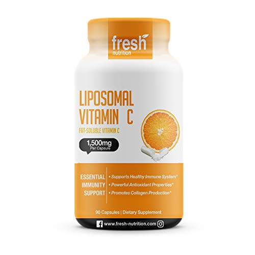 Liposomal Vitamin C - The Only 1500mg Per Capsule (NOT 2 Capsules Per Serving) DNA Verified & Potent Vit C – Swallow or Pour Powder into a Drink, All Natural Vegan Friendly, Non-GMO, Gluten & Soy Free