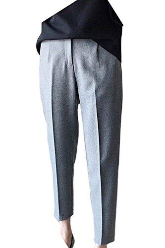 Dame De Loisirs Mince Pantalon Casual Femme Couleur Étirer Grey Business Battercake Unie Élégant Longues Mode Droit IqTaI8p