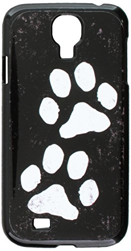 Graphics And More Paw Prints Distressed Black White Snap On Hard Protective Case For Samsung Galaxy S4   Non Retail Packaging   Black