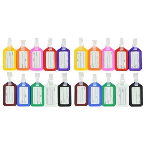 KLOUD City 20 Pcs Assorted Colors Plastic Square-shape Tag (Square Luggage Tag)