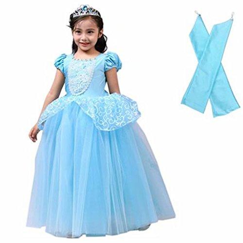 Girls Cinderella Costume Princess Elsa Anna Bell Halloween Party Dress