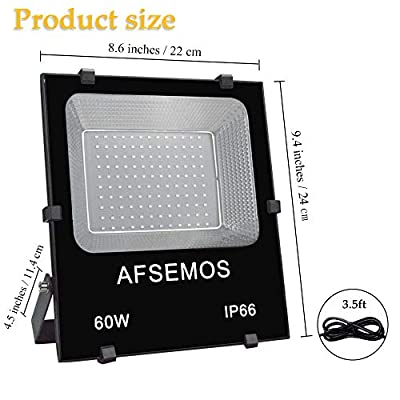 UV LED Black Light,High Power 60W Ultra Violet UV LED Flood Light,AFSEMOS IP66-Waterproof with Plug for Black Lights Parties,Birthdays,Glow in The Dark,Stage Lighting,Poster Fluorescent Effect,Curing
