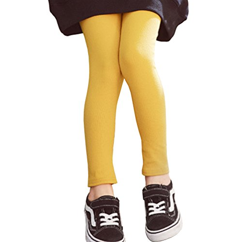 Bjinxn Girls Spring Summer Long Pants Cotton Leggings Multiple Colors 130 Yellow by Bjinxn