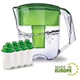 Ecosoft Water Filter Pitcher Jug - BPA-Free - Patent Commercial Grade Ecomix Filter Cleaners - 8 Cups Purified Water, 10 Cup Capacity with 4 Additional Cartridges for Filtration, Green
