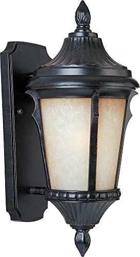 (Maxim 3013LTES Odessa Cast 1-Light Outdoor Wall Lantern, Espresso Finish, Latte Glass, MB Incandescent Incandescent Bulb , 40W Max., Dry Safety Rating, 2900K Color Temp, Standard Dimmable, Glass Shade Material, 6750 Rated Lumens)