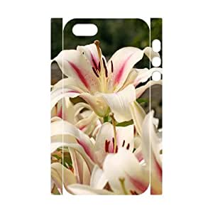 3D Case For Ipod Touch 5 Cover Case Girl Design Beautiful Lilies, Beautiful Flowers Case For Ipod Touch 5 Cover [White]