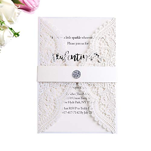 (PONATIA 25 PCS Lacer Cut Wedding Invitations Cards Hollow with Diamond Belt for Wedding Bridal Shower Engagement Birthday Graduation Invite (White-1))