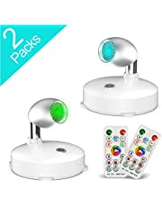 LED Spotlight,RGB Wireless Spotlight,LED Accent Lights Battery Operated with Remote, Dimmable Puck Light with Rotatable Light Head for Painting Picture Artwork Closet 2pack