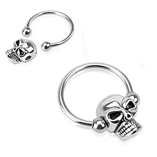 Blue Palm Jewelry Pair of 16 Gauge 1/2 Inch 4mm Ball Nipple Ring Skull Bead 316l Surgical Steel Captive Bead Ring C260 ()