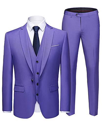 WULFUL Men's Suit Slim Fit One Button 3-Piece Suit Blazer Dress Business Wedding Party Jacket Vest & Pants -