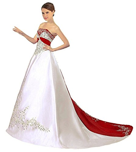 Strapless Cathedral Train - APXPF Women's Satin Embroidery Wedding Dress With Cathedral Train White and Red US26