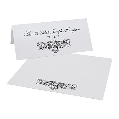 Documents and Designs Vintage Frame Easy Print Place Cards, Black, Set of 60 (10 Sheets)