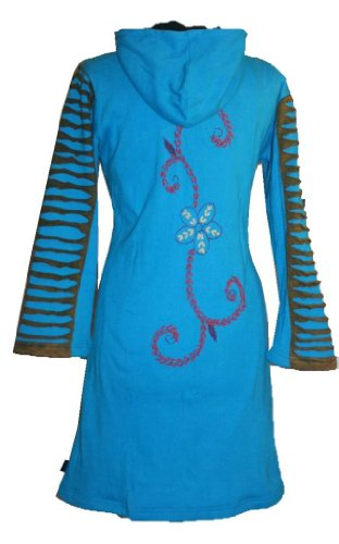323 RJ Patch Funky Cotton Bohemian Long Jacket [Turquoise; S/M] by Agan Traders (Image #4)