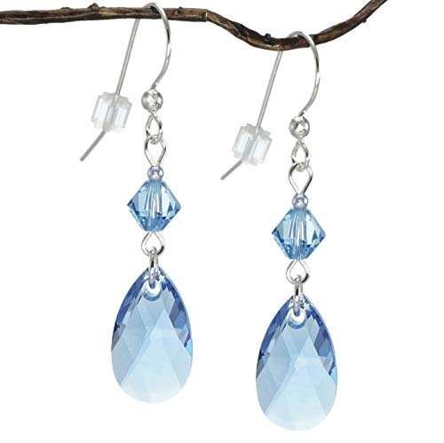 - Swarovski Crystal Light Sapphire Blue Teardrop and Bicone Sterling Silver Earrings