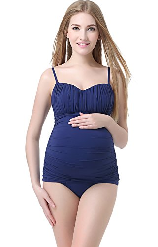 Momo Maternity UPF 50+ Two Piece Tankini Swimsuit for Women,Navy,Small