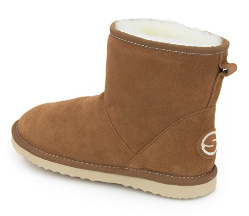for SHEPHY Leather Boots Sheepskin Merino with Women Suede Upper Shearling Aida Camel 7rnqrwTpXR