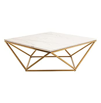 Great Rosalie Hollywood Regency Gold Steel White Marble Coffee Table