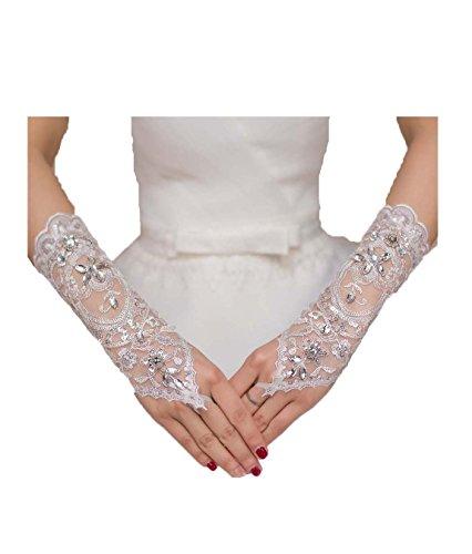 Hdress White Bridal Gloves Rhinestone Bride Fingerless Lace Wedding Gloves (White)